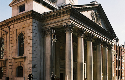 St George's Hanover Square Church classical front with six great Corinthian - Church exterior