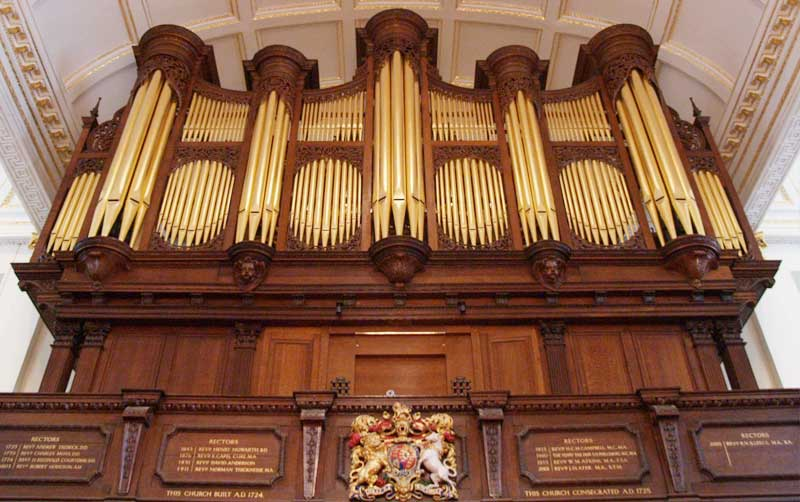 Donated money helped St George's Hanover Square church get a new organ
